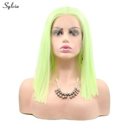 Green Color Lace Wig Australia - Cosplay Wig Yellow Green Synthetic Hair For Women Party Short Bob Haircut Fluorescent Color Lace Front Wig Straight Wigs