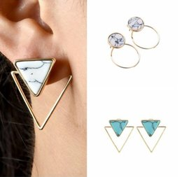 Discount white stone earrings gold - New Triangular Round Square Geometric Marble Stone Turquoise Stud Earrings Ladies Fashion Simple Earrings Free Shipping