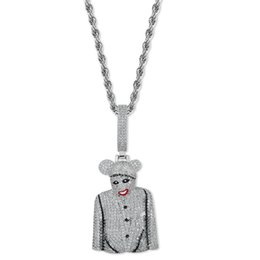 gold pendant for men singapore 2019 - Sliver Clown Character MICKY Pendant & Necklace for Men Hip Hop Copper Jewelry Iced Out Full Cubic Zirconia Charms with