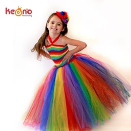 girls dresses rainbow tutu Australia - Keenomommy Girls Couture Rainbow Tutu Dress Kids Halloween Circus Clown Tutu Dress Photo Props Birthday Costume Ts079 J190505