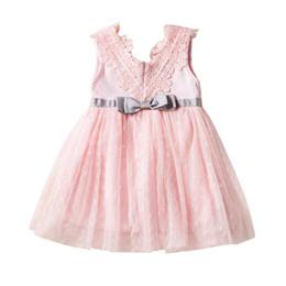 $enCountryForm.capitalKeyWord Australia - Summer Dresses Girl Princess Lace Sleeveless Dress Bow Design Mesh Baby Tutu Dresses Pageant Sundress 2019 Newest