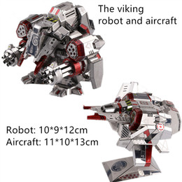 diy boys toys UK - 3D metal puzzles DIY boy cool toy and gift the viking Robot and aircraft model silver red