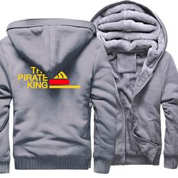 Anime one piece coAt online shopping - The Pirate King Print Streetwear Hoody Fashion Zipper Thick Coat One Piece Sweatshirt For Men Anime Hip Hop Men s Hoodies