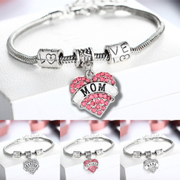 Discount niece charm - 12PC Family Bracelets Clear Crystal Rhinestone Heart Charm Pendant Bangles Love Bead Chain Mom Nana Grandma Niece Daught