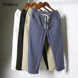6b19c8ec5 Men s China Style Casual Pants Natural Breathable Cotton Linen Trousers  White Linen Elastic Waist Straight Joggers Pants Y190509