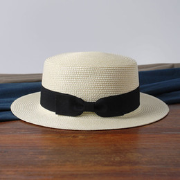 $enCountryForm.capitalKeyWord Australia - 2019 Hot Parent-child Women Men Sun Hats Bow Hand Made Straw Beach Flat Brim Hat Casual Girls Summer Cap 52-55-58cm C19041001