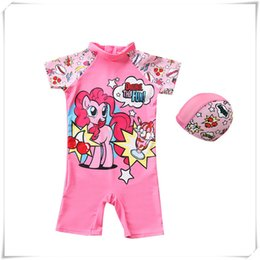 $enCountryForm.capitalKeyWord NZ - Outdoors Swimming Swimsuit Baby Kids Girl Cartoon Lovely Pink Horse Summer Swimming Suit With Hat Fine Workmanship
