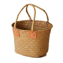 Hand Woven Pvc Shopping Basket Bag Snack Toy Basket Storage Hand Shopper Bags Basket Beach Tote Fashion Bag For Women Outdoor Shopping Bags
