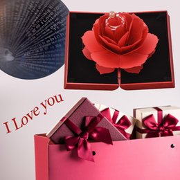 Ring Flowers Australia - Hot Sale Roses Artificial Flowers Home Wedding Festival Decoration Gift Box with eternal ring (100 language say i love you )