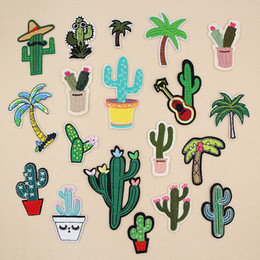 $enCountryForm.capitalKeyWord Australia - Cactus Flower Coconut Tree Embroidery Patches Sew Iron On Applique Repair DIY Badge Patch For Kids Clothes Jacket Bag Garment