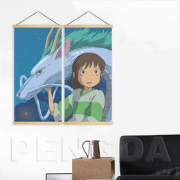 $enCountryForm.capitalKeyWord Australia - Home Decor Wall Art 2 Piece Picture Movie Spirited Away Painting Solid Wood Hanging Scrolls Canvas Print Poster For Living Room