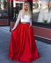 gown pockets red carpet UK - Two Pieces A Line Satin Evening Dresses with Pockets Lace Top Long Sleeves Modest Prom Gowns Formal Bride Dress