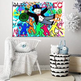 Money Paintings Australia - Alec Monopolyingly Money Man Wall Art Canvas Poster And Print Canvas Painting Decorative Picture For Living Room Home Decor