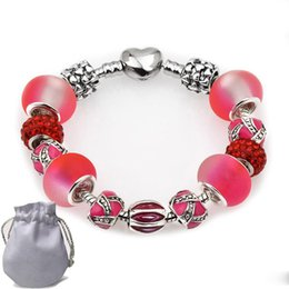 Shaped Crystal Beads Australia - Designer 925 Silver Bracelets Fit Pandora Women Red Matte Crystal Glass Beads Openwork Embossed Bangle Heart Shaped Clasp Jewelry