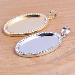 pendant trays Australia - crystal rhinestone frame cabochon settings 18x25mm 20x30mm oval blank pendant base settings zinc alloy trays blank diy jewelry bezels