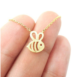 $enCountryForm.capitalKeyWord Australia - QIMING Women Bumble Bee Necklace Shaped Cute Insect Gold Silver Charm Pendant Long Necklace for Girls Baby Jewelry