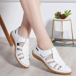 Gladiator Leather Shoe Australia - Women Gladiator Sandals Shoes Genuine Leather Hollow out Flat Sandals Ladies Casual Soft bottom Summer Shoes Women Beach Sandal2019