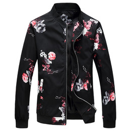 Discount flower jackets - Floral Bomber Jackets Men Spring Autumn Fashion Hip Hop Flowers Mens Jackets and Coats Chinese Style Oversized Outwear C