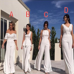$enCountryForm.capitalKeyWord NZ - 2020 V Neck JumpSuit Long Lace Bridesmaid Dresses Off The Shoulder Split Floor Length Maid of honor Wedding Guest Evening Gowns