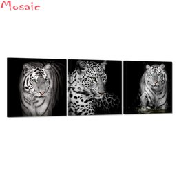 $enCountryForm.capitalKeyWord Australia - 3 Pieces Black White Leopard Tiger Wall art 5d diamond painting Abstract Animal Picture diamond embroidery For Living Room Decor