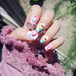 $enCountryForm.capitalKeyWord Australia - 24pcs Cream Candy Cake Series Fake With 3d Ice Cream Pattern Fake Nails Cute Pink Color False Nails Short Full Nail Tips