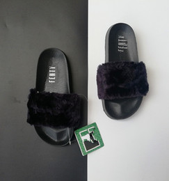 c088e4b2d High Quality Leadcat Fenty Rihanna Faux Fur Slippers Women Indoor Sandals  Girls Fashion Scuffs Pink Black White Grey Slides With Box P06