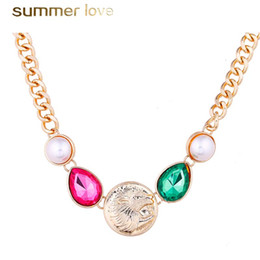 mother pearl round pendant 2019 - Punk Style Round Lion Rhinestone Pendant Necklace for Women Round Pearl Adjustable Gold Color Chain Sweater Necklace Jew