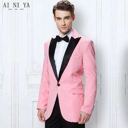 Hot pink blazers online shopping - Hot Pink Prom Groomsmen Tuxedo Slim Fit Mens Suits One Buttons Black Peak Lapel Men s Wedding Suits Best Men Custom Made Blazer