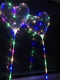 Used Toys Wholesale Australia - Christmas Gifts Wedding Party Use Heart Shape LED Luminous Balloon BoBO Ball Light Up Transparent Hear Shape 3Meters Balloons With Pole Toy