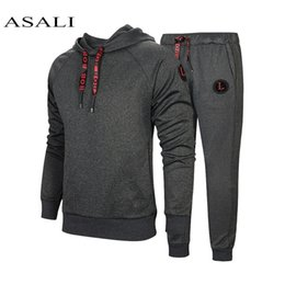 men s sport v neck jacket Canada - New Winter Men Set Causal Jacket 2Pcs Tracksuits Thicken Fleece Hoodies + Pants Spring Set Male Sporting Sweatshirt Jogger Suit SH190909