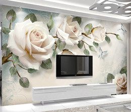 White 3d Rose Fabric NZ - 3D Custom Modern Photo Wallpaper Mural Painting White Rose Flowers For Living Room Bedroom TV Background Floral Home Decor Wallpaper