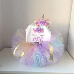 First Birthday Tutu Australia - One Year Baby Girls First 1st Birthday Dress 3pcs Headband Cute Unicorn Theme Colorful Mini Tutu Dresses 12 Months Kids Clothing J190506