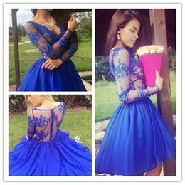 $enCountryForm.capitalKeyWord Australia - Charming Short Short Lace Short Homecoming Dress Sexy Women Long Sleeves Prom Evening Dress