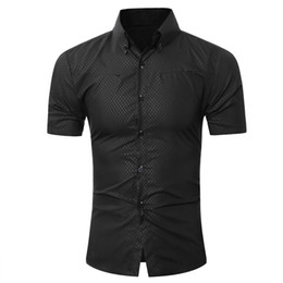 Wholesale hawaiian dress shirts resale online - Fashion Male Hawaiian Shirt Short Sleeves Tops Small Grid Solid Color Mens Dress Shirts Slim Men Shirt XL