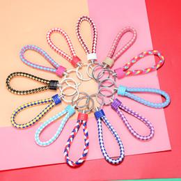 $enCountryForm.capitalKeyWord Australia - Pu leather rope knit key ring metal couple ring car pendant chain small gift