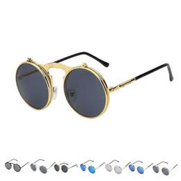 eb42cdf83b0 Steampunk Flip Up Sunglasses Australia - Fashion Flip Up Steampunk  Sunglasses Men Round Vintage Mens Sunglass