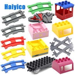 electric toy train tracks Australia - Track Combination Big Building Blocks Bricks Rail Train Cabin Vehicle Accessories Compatible With Duplo Sets Baby Diy Toys Gift