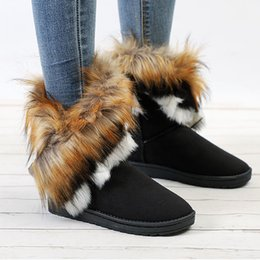 $enCountryForm.capitalKeyWord Australia - Winter Snow Boots Women Faux Ankle Booties Female Slip-on Warm Fashion Shoes Ladies Flat Comfortable Footwear Plus Size