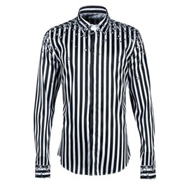 9bfc7b249b New Fashion Mens Diamond 3D Printed Casual Shirts Streetwear Striped Long  Sleeve Spring Tops Shirt Office Work Man Clothes Wear