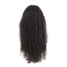 Virgin Natural Curly Human Hair UK - Wigs Brazilian Virgin Kinky Curly Human Hair 4x4 Lace Front Wig for Black Women with 1b Natural Color 8-26 Inch Glueless Free Part