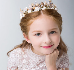 flower girl hair garland wreaths Australia - Children pageant garlands girls pearls shell rhinestones crowns lily jewelry wreath stereo flowers studio photography hair accessories F4095