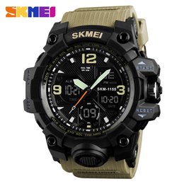 Analog Double Digital Sports Watch Australia - SKMEI brand watch fashion sports multi-function men's military LED digital watch 5Bar waterproof double display watch Relogio Masculino 1155