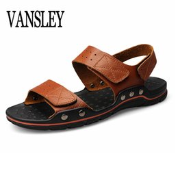 $enCountryForm.capitalKeyWord Canada - Brand Sandals Men Summer Flat Sandals Male Leather Casual Outdoor Beach Flip Flops Lightweight Shoes Breathable Slippers Size 48