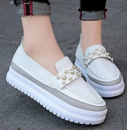 Small Shoes For Woman Australia - Loafers are new for women in spring 2019 small white shoes White pearl shoes women pearl studded moccasins loafers