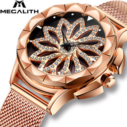Womens Waterproof Luxury Watches Australia - MEGALITH Fashion Luxury Diamond Wrist Watch With Rotating Dial Waterproof Analogue Elegant Ladies Quartz Wrist Watch Womens