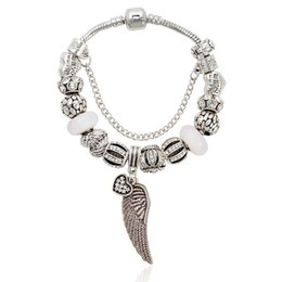 titanium beads wholesale Canada - Hot new Luxury 2019 fashion brand for Pandora contracted DIY white Coloured glaze pendant wings Peach heart bracelet