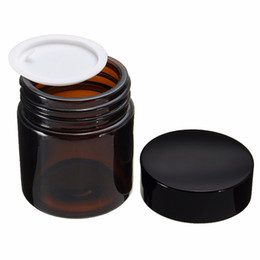 $enCountryForm.capitalKeyWord Australia - 30pcs Brown Round Empty Amber Glass Jar Makeup Pot 120ml Cream Jars Cosmetic Packaging Container Cosmetic Glass Jar With Lid