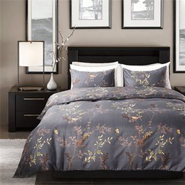 Luxury grey bedding online shopping - Modern Style Grey Color Bedding Set King Size Bronzing Flower and Birds Pattern Duvet Cover Set Exquisite Luxury Home Textiles