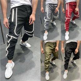 Wholesale hip hop dancing resale online - Autumn Men Oversized XXL Hip hop Harem Joggers Pants Male Multi Pocket Reflective Striped Dance Sweatpants Trousers Streetwear