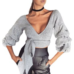 Discount white sweater crop top - Women's Deep V Neck Crop Tops Long Puff Sleeve Sweater Club Tie Belted Blouse